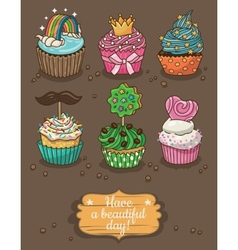 Set of delicious cupcakes with different toppings vector image