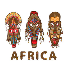 set traditional african masks vector image