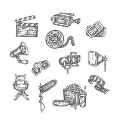 sketches cinema hand drawings on a vector image