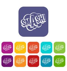 Smash comic book bubble text icons set flat vector