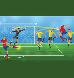 soccer player in action on stadium background vector image
