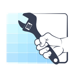 spanner in hand silhouette vector image