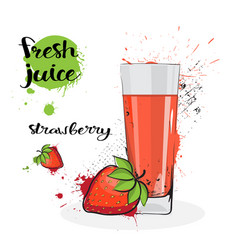 Strawberry juice fresh hand drawn watercolor fruit vector
