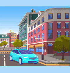 street city center car on road turning on side vector image