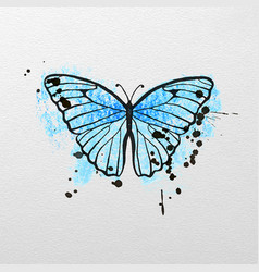 Stylized blue butterfly vector