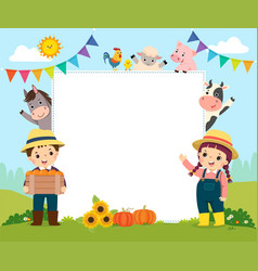 Template with farmer kids and farm animals vector