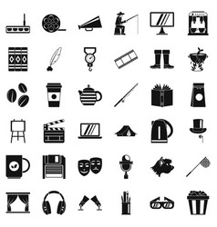 Theatre icons set simple style vector