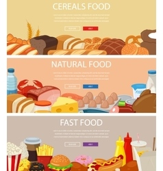 Three design banners set with cereals food vector