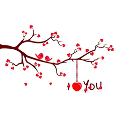 Tree branch with Love Hearts vector image