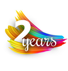 two years greeting card with colorful brush vector image