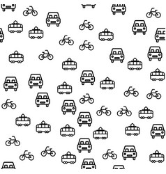 types of city transport seamless pattern vector image