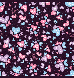 valentine love and hearts seamless pattern vector image