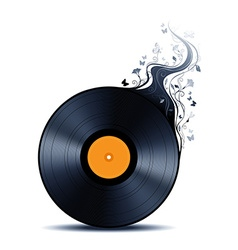 Vinyl record with abstract flowers vector image
