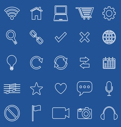 Web line icons on blue background vector