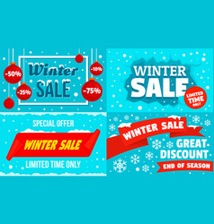 winter sale banner set flat style vector image