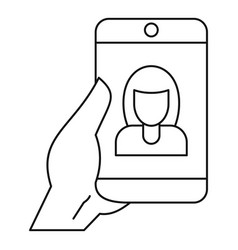 woman take selfie smartphone icon outline style vector image