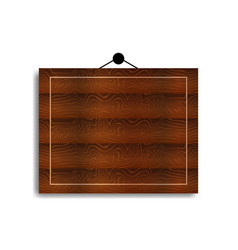 Wooden board hanging on wall with a white vector