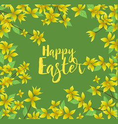 yellow flowers card happy easter vector image