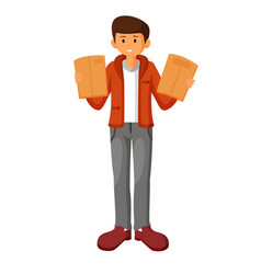 young man holding clipboard with papers vector image