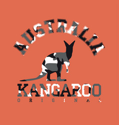 camouflage typography for clothes with kangaroo vector image vector image