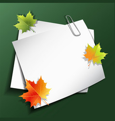 paper sheets and maple autumn leaves vector image