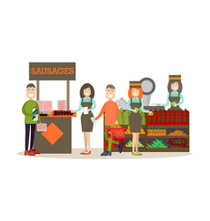 people buying groceries in vector image vector image