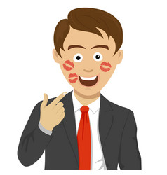 young business man shows traces of kiss on face vector image