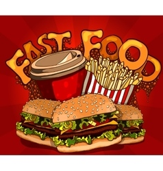 fast food banner with cola hamburger and fries vector image