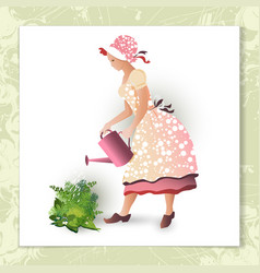 girl gardener with a watering can vector image vector image