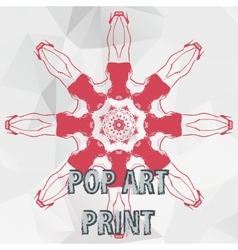 Pop art print symmetry legs of the women round vector image