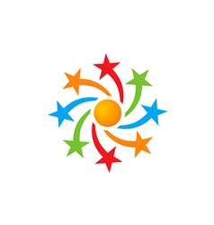star circle celebration color logo vector image