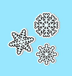 beautiful snowflakes set icon isolated christmas vector image