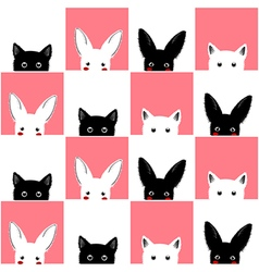Black white pink cat rabbit chess board vector