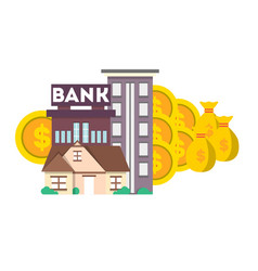 financial investment banner with bank building vector image vector image