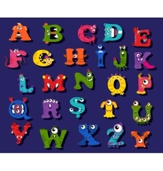 Halloween funny alphabet for children vector image