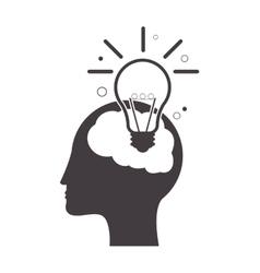 human brain lightbulb idea icon vector image