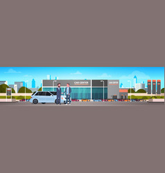 purchase sale or rental center seller man giving vector image