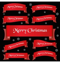 red merry christmas slogan curved ribbon banners vector image vector image