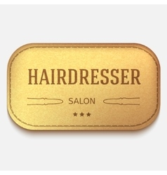 banner Leather label hairdresser logo or vector image