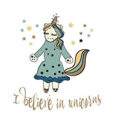 believe in unicorn typography and unicorn vector image