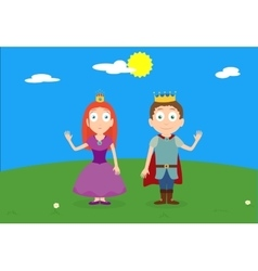 Cartoon characters of princess and prince on green vector image