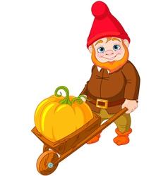 Garden Gnome with wheelbarrow vector image vector image