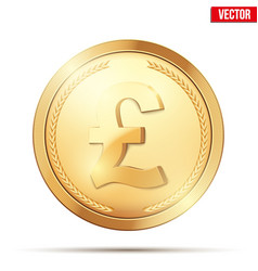 gold coin with pound sign vector image vector image