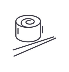 japan restaurant sushi roll line icon vector image