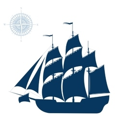 Sailing ship isolated on white background vector image vector image