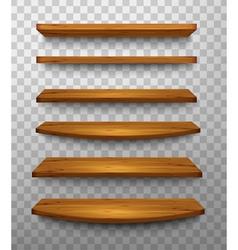 Set of wooden shelves on a transparent background vector image vector image