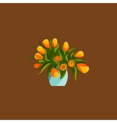 Spring flowers in vase bouquet flat icons vector image