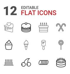 12 dessert icons vector image