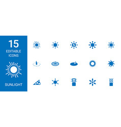 15 sunlight icons vector image