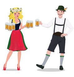 a man and woman in oktoberfest suits isolated vector image